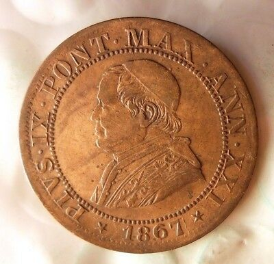 1867 VATICAN (PAPAL STATES) 1/2 SOLDO - EXCELLENT RARE COIN - Lot #524