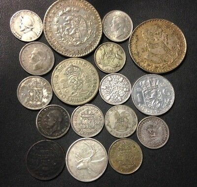 Vintage WORLD Silver Coin Lot - 1907-1963 - 17 Silver Coins - Lot #524