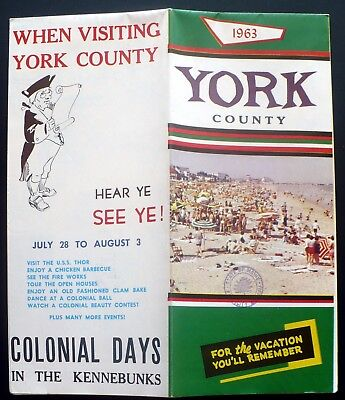 1963 Travel Brochure York County Maine, Great Color Pictorial Map & Photos
