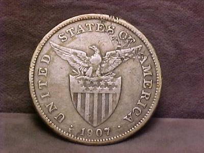 Philippines 1 Silver Peso Crown Coin 1907-S
