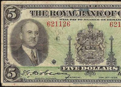 1935 $5 Dollar 621 126 Radar Royal Bank Of Canada Note Currency Paper Money