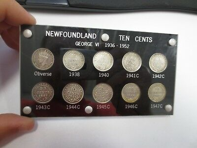 NEWFOUNDLAND TEN CENTS George VI 1936-1952 10-pc Coin Set