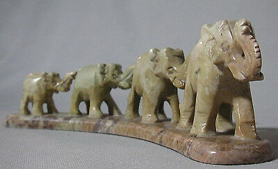 Vtg Carved Stone Family Of 4 Trunk Up Elephants Figurine~Good Luck~Onyx~Jade