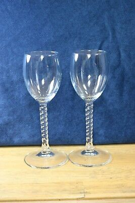"""Set of 2 Cristal D'Arques Durand Angelique Twisted Stem 6 """" Clear Cordial Sherry"""
