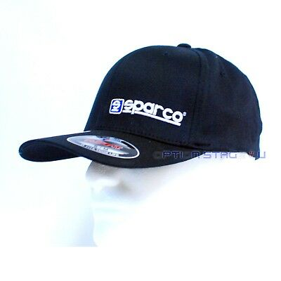 Sparco Official LID Black w/ White Logo FlexFit Baseball Cap Hat Size S/M SP13N