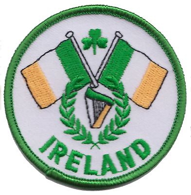 Ireland Crossed Tricolours & Harp Flag Round Embroidered Patch