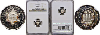1871 Silver Three Cent Piece NGC MS-66