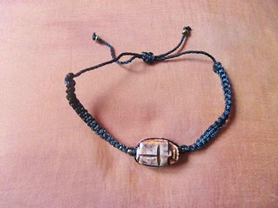 Beautiful Handmade Egyptian Expandable_Brown STONE SCARAB BEETLE_Bracelet...SALE