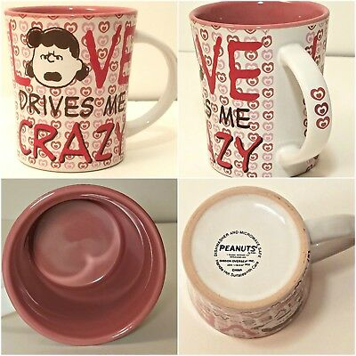 Peanuts Coffee Cup Mug Lucy Love Drives Me Crazy 15 oz Hearts Charlie Brown