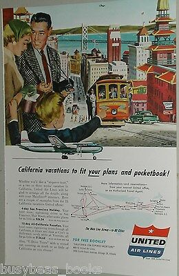 1954 United Air Lines advertisement, DC-6 Mainliner, San Francisco California