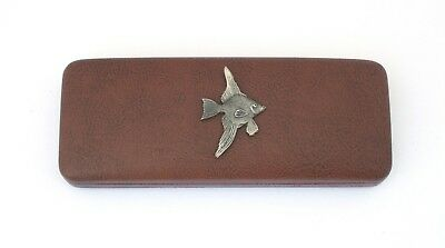 Fly Fishing reel Leather Effect PU Glasses Case Fishing Gift Fishermans Present Brillen