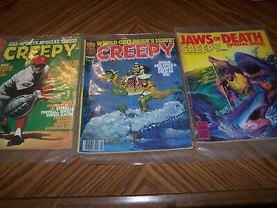"Vintage Lot Of 3 Warren Magazine ""creepy"" Comics"