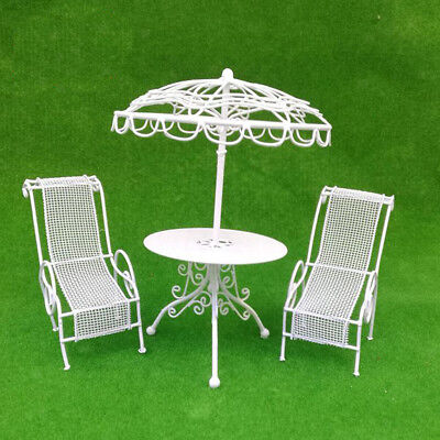 1/12 Doll House Miniature Outdoor Garden Furniture Metal Table Chairs White