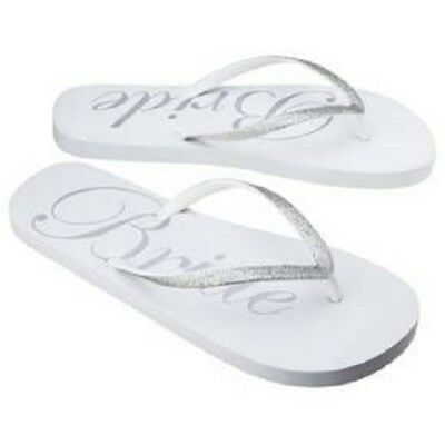 Gilligan & O'Malley Bride Flip Flops Silver and White Size 5/6 NWT