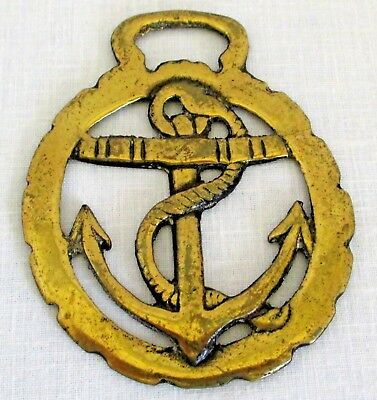 Vintage Horse Brass Medallion with Anchor -England