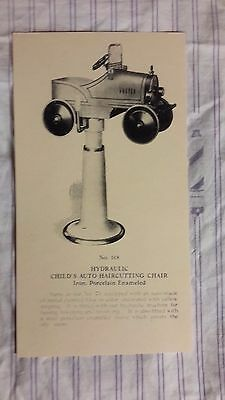 Rare Vintage 1926 Paidar Barbershop Child's Car Chair Drawing Photo  Sign Ad