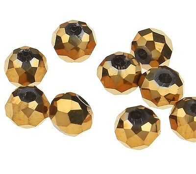 25 TSCHECHISCHE KRISTALL PERLEN GLASPERLEN RONDELLE 4mm Fire-Polished Gold X46