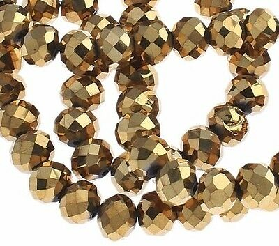 15 TSCHECHISCHE KRISTALL GLASPERLEN FACETTIERT 10mm Fire-Polished Gold X247