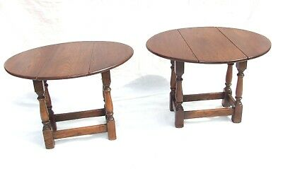 PAIR SOLID Oak Drop Leaf Occasional / Coffee Tables : Antique Georgian Style