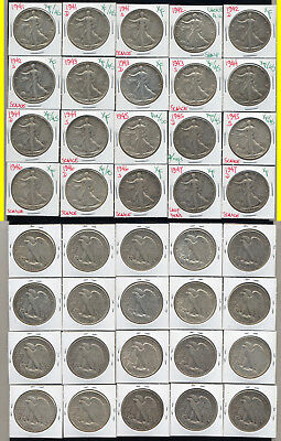 Lot Of 20 Walking Liberty Half Dollars- Higher Grade Short Set- No Reserve