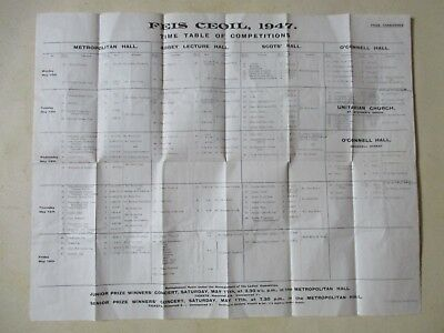 Irish Interest - 1947 Feis Ceoil Competition Timetable