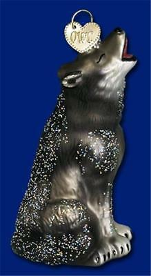 Howling Wolf Old World Christmas Glass Wildlife Full Moon Ornament Nwt 12163