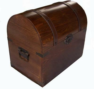 Beau LARGE OPEN WOOD TREASURE CHEST Wooden Pirate Storage Box VINTAGE LOOKING  #201 LG