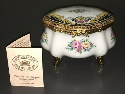 "Imperial Limoges France ~ Lg. 5"" Porcelaine Hand-Painted Classic Trinket Box+Coa"