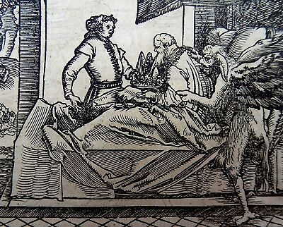 1532 Master of Petrach - Hans Weiditz 2 woodcuts THE DEATHBED / THE BELL TOLLS