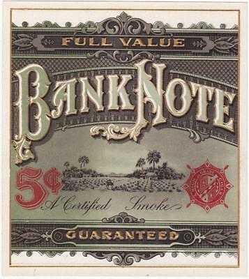 Bank Note Original Unused Vintage Heavily Embossed Outer Cigar Box Label