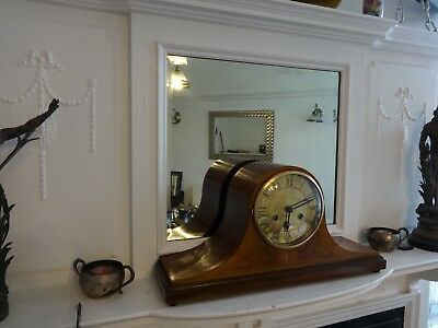 Antique Napoleon Hat Inlaid Striking Mantel Clock In Good Working Order With Key
