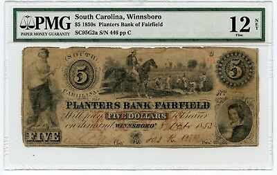 1850s $5 South Carolina, Winnsboro Obsolete Currency Note Fine 12 PMG. NET