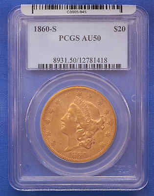 1860-S $20 Liberty Double Eagle Gold Coin PCGS AU 50