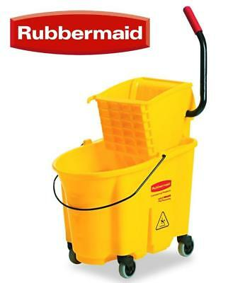 Rubbermaid WAVEBrake 26-Quart Side Press Mop Bucket & Wringer Combo Yellow