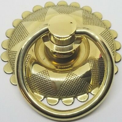 "LARGE BRASS 2-1/2"" Eastlake Victorian Style Plated Single Post Ring Pull Knob Ba"