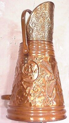 Vintage Copper Dutch Hammered Windmill Old Coal Ash Scutlle Bucket Handle Brass
