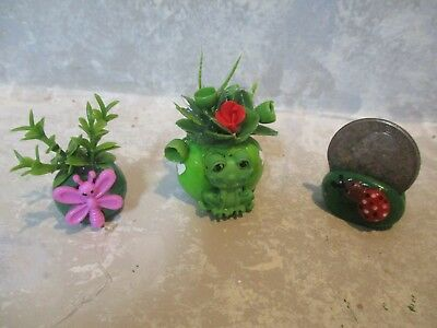 """Miniature FUN 1 1/2""""h Miniature FROG/dragonfly polymer green vases"""