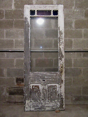 ~ Antique Carved Victorian Door With Stained Glass 31 X 83 Architectural Salvage