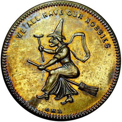 1860 Witch Flying On Broomstick Merchant Token We All Have Our Hobbies Lovett