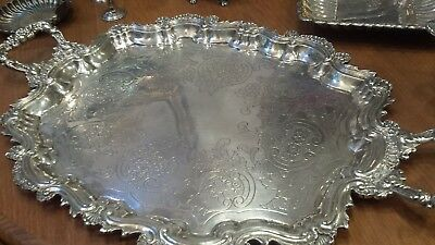 1835g COLLECTION STERLING SILVER HANDLE TRAY COLONIAL STYLE: MONTEJO HM