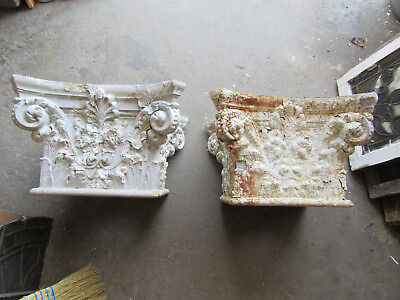 ~ Pair Of Antique Terra Cotta Capitals 13 Inches Tall ~  Architectural Salvage ~