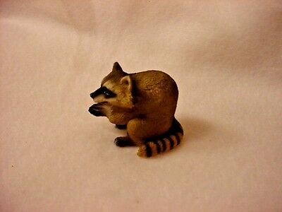 RACCOON animal TiNY FIGURINE Resin HAND PAINTED MINIATURE Mini Wildlife Statue