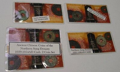Chinese Cash coins. Five original coins in packs described, circa 700-1100 AD.