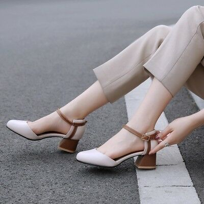 Fashion Women Round Toe Mary Jane Pumps Block Low Heel Casual Buckle Ankle Shoes