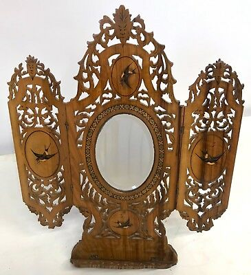Antique Sorrento Sorrento Ware Wooden Carved Inlaid And Painted Mirror Easel