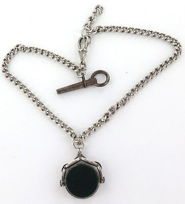 Antique English Sterling Silver Pocket Watch Chain + Bloodstone Spinner + Key.