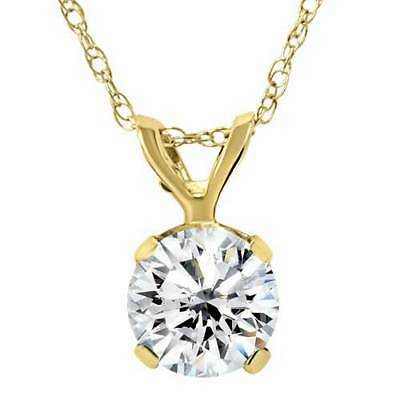 Large 3/4ct Real Diamond Solitaire Pendant 14K Yellow Gold Womens Necklace