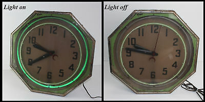 Antique Original Metal Octagon Green Neon Marvin Display J D Clock Vintage Works
