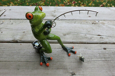 Frog Figurine Fishing With Fishing Pole Fish on End Bucket 6 in. Frogs Ornament