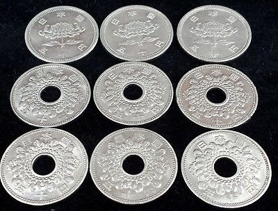 Japan Lot of 9 50 Yen Coins 1955 - 1965 in Higher Grades